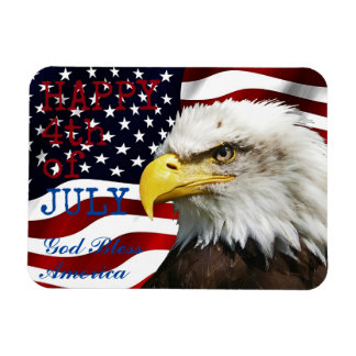 Modern 4th of July US USA Flag American Eagle Magnet