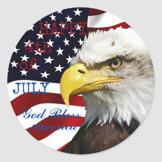 Modern 4th of July US USA Flag American Eagle Round Sticker
