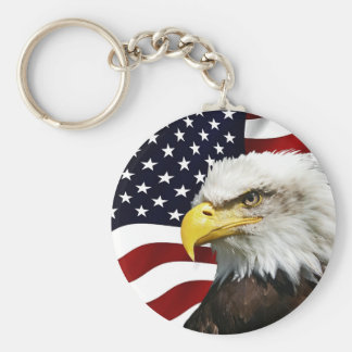 Modern 4th of July USA Flag American Eagle Patriot Key Ring
