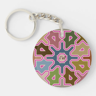 Modern abstract Arab tilings Keychain wth Monogram
