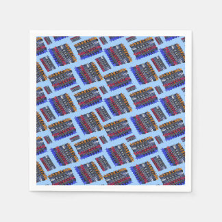 Modern Abstract Art Blue Background Disposable Serviettes