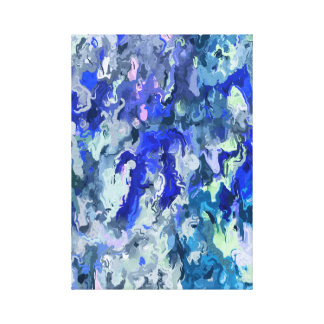 ~ Modern Abstract Art Design ~ Blue Rain ~ Canvas Print