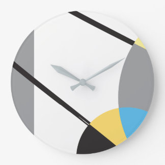 Modern, Abstract Art Design, Grey, Yellow, Blue Large Clock