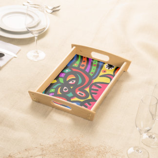 Modern Abstract Art Face Serving Tray