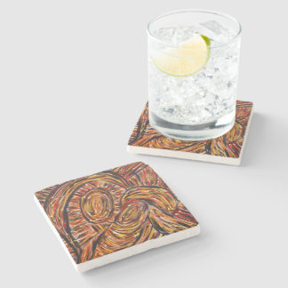 Modern Abstract Art Mother & Child Stone Coaster