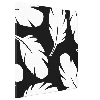 Modern Abstract Black And White Bird Feathers Stretched Canvas Print