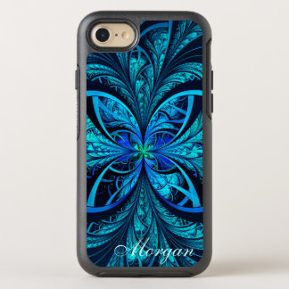 Modern Abstract Blue Green Fractal Name OtterBox Symmetry iPhone 8/7 Case