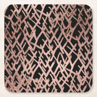 Modern abstract chevron faux rose gold pattern square paper coaster