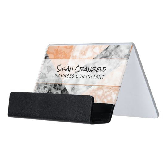 Modern Abstract Collage With Coral Pink Marble Desk