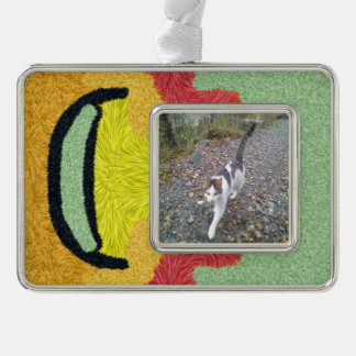 Modern abstract colorful patternn silver plated framed ornament