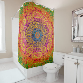 Modern Abstract Concentric Pattern Tile Shower Curtain