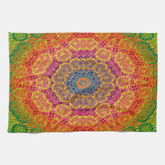 Modern Abstract Concentric Pattern Tile Tea Towel