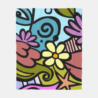 Modern Abstract Cubism Art Fleece Blanket