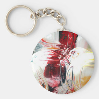 Modern Abstract Digital Art Basic Round Button Key Ring