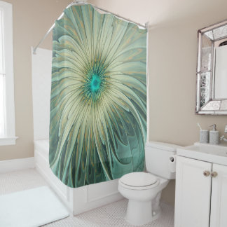Modern Abstract Fantasy Flower Turquoise Wheat Shower Curtain