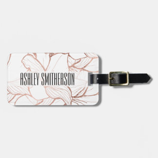 Modern abstract faux rose gold flowers pattern bag tag