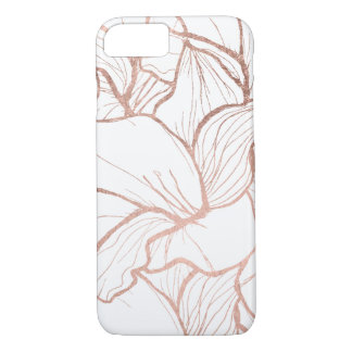Modern abstract faux rose gold flowers pattern iPhone 8/7 case