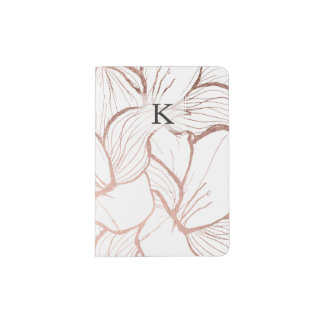 Modern abstract faux rose gold flowers pattern passport holder