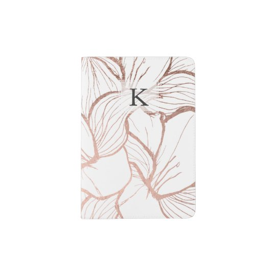 Modern abstract faux rose gold flowers pattern passport