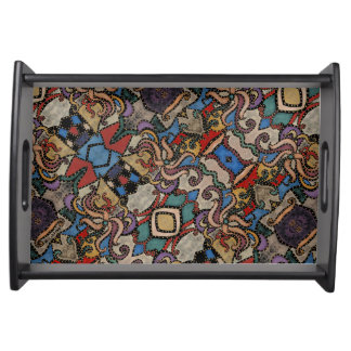 Modern Abstract Floral Pattern Serving Tray