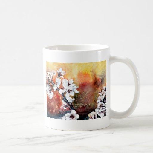 modern abstract flower asian oriental art painting basic white mug