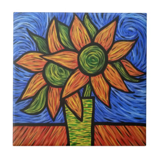 Modern Abstract Flowers In Vase Colorful Artwork Tile