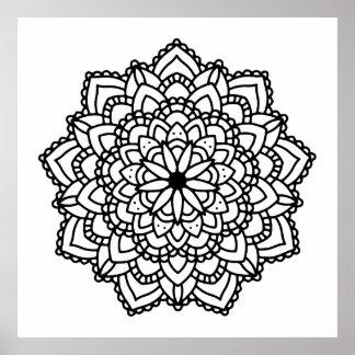 Modern Abstract Geometric Black Mandala Poster