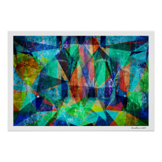Modern Abstract Geometric Colorful Grungy Art Poster
