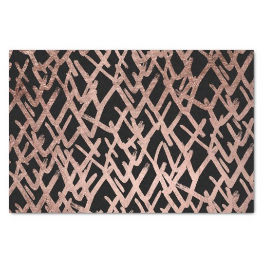 Modern abstract geometric faux rose gold pattern tissue paper
