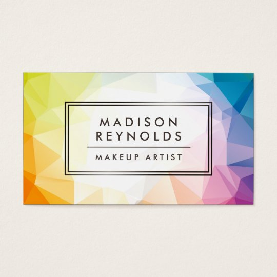 Modern Abstract Geometric Pattern Makeup Artist Business Card