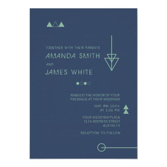 Modern Abstract Geometric Wedding Invitation Card