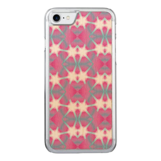 Modern abstract geometrical pink teal star pattern carved iPhone 8/7 case