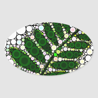 Modern Abstract Green Leaf Oval Sticker