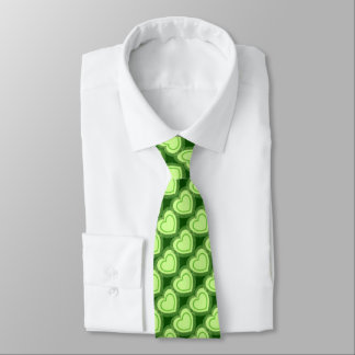 Modern Abstract Hearts - Lime Green Tie
