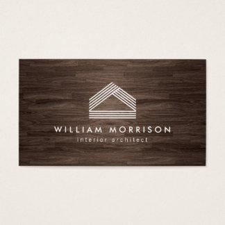 Modern Abstract Home Logo on Dark Woodgrain
