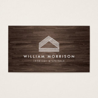 Modern Abstract Home Logo on Dark Woodgrain Business Card