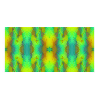 Modern Abstract in Vibrant Green and Yellow Picture Card