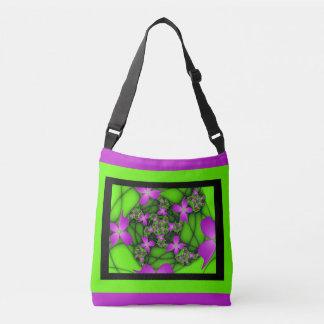 Modern Abstract Neon Pink Green Fractal Flowers Crossbody Bag
