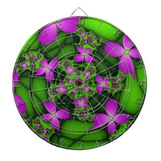 Modern Abstract Neon Pink Green Fractal Flowers Dartboard