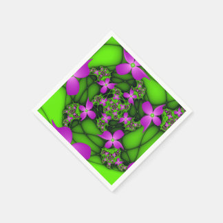 Modern Abstract Neon Pink Green Fractal Flowers Disposable Napkin