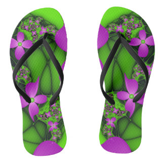 Modern Abstract Neon Pink Green Fractal Flowers Flip Flops
