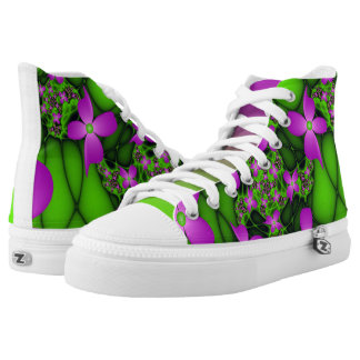 Modern Abstract Neon Pink Green Fractal Flowers High Tops