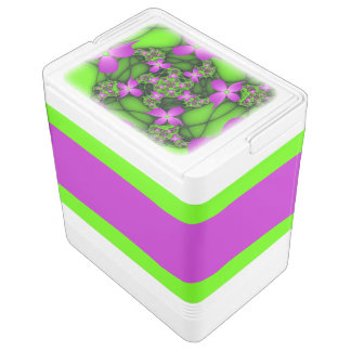 Modern Abstract Neon Pink Green Fractal Flowers Igloo Cool Box