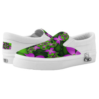 Modern Abstract Neon Pink Green Fractal Flowers Slip-On Shoes