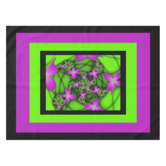 Modern Abstract Neon Pink Green Fractal Flowers Tablecloth