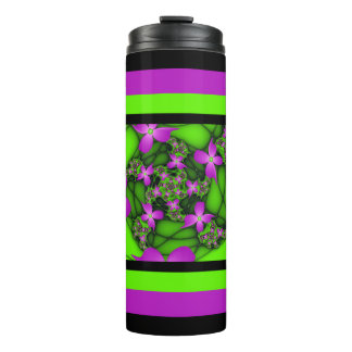 Modern Abstract Neon Pink Green Fractal Flowers Thermal Tumbler
