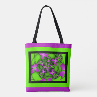 Modern Abstract Neon Pink Green Fractal Flowers Tote Bag