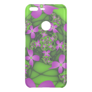 Modern Abstract Neon Pink Green Fractal Flowers Uncommon Google Pixel XL Case