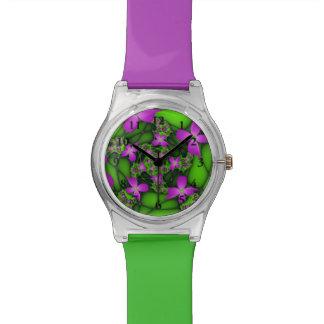 Modern Abstract Neon Pink Green Fractal Flowers Watch