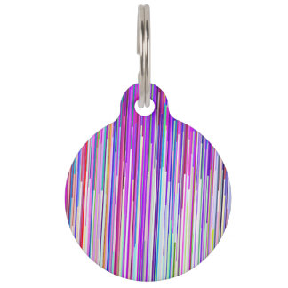 Modern abstract neon pink purple stripes pet ID tag